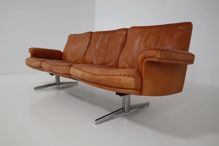 De Sede  Armchairs and Sofa and in Soft Cognac Aniline Leather, Model DS 35 For Sale 2