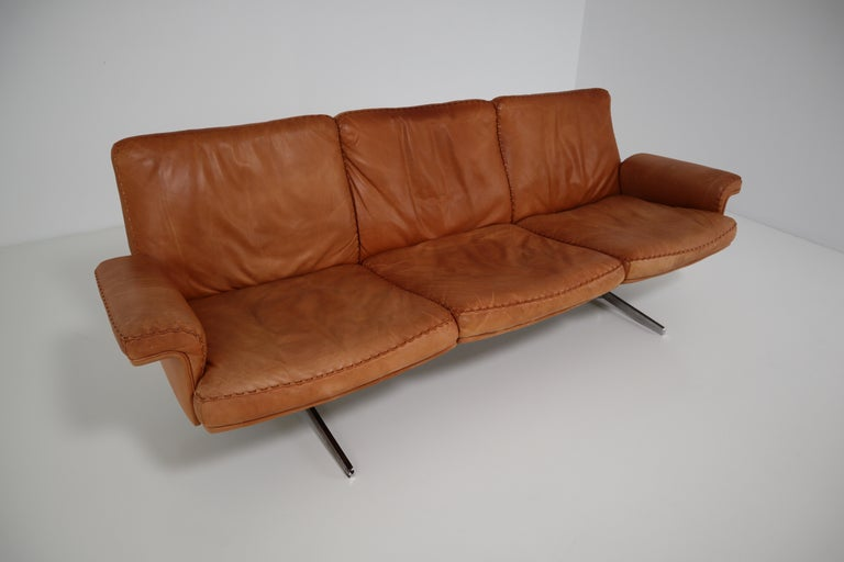 De Sede  Armchairs and Sofa and in Soft Cognac Aniline Leather, Model DS 35 For Sale 3