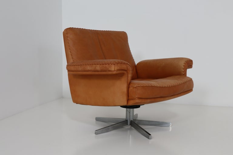 De Sede  Armchairs and Sofa and in Soft Cognac Aniline Leather, Model DS 35 For Sale 4