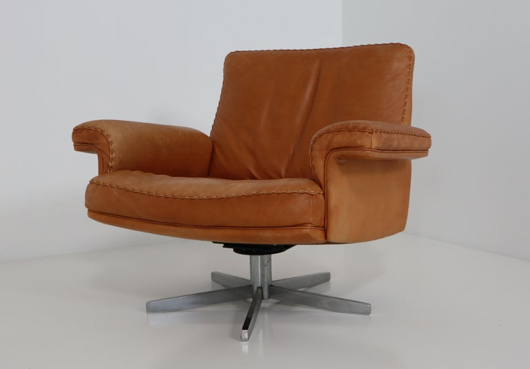 De Sede  Armchairs and Sofa and in Soft Cognac Aniline Leather, Model DS 35 For Sale 5