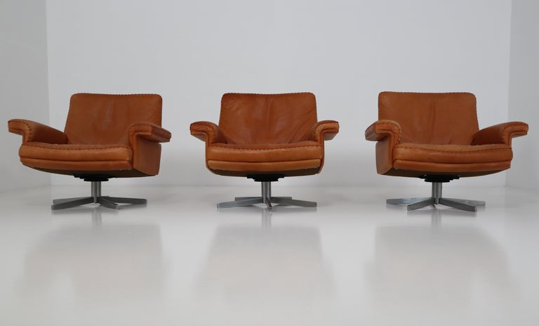 De Sede  Armchairs and Sofa and in Soft Cognac Aniline Leather, Model DS 35 In Good Condition For Sale In Almelo, NL