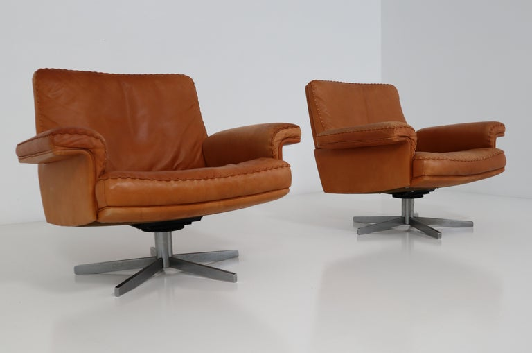 De Sede  Armchairs and Sofa and in Soft Cognac Aniline Leather, Model DS 35 For Sale 6