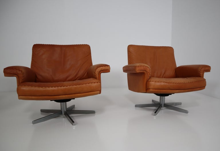 De Sede  Armchairs and Sofa and in Soft Cognac Aniline Leather, Model DS 35 For Sale 8
