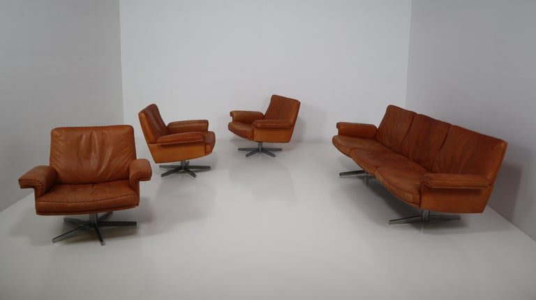 De Sede  Armchairs and Sofa and in Soft Cognac Aniline Leather, Model DS 35 For Sale 10