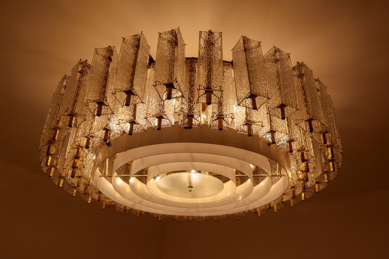 European Three Extra Large Midcentury Chandeliers in Structured Glass and Brass, Europe For Sale