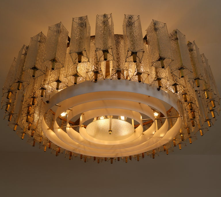 Three Extra Large Midcentury Chandeliers in Structured Glass and Brass, Europe For Sale 3