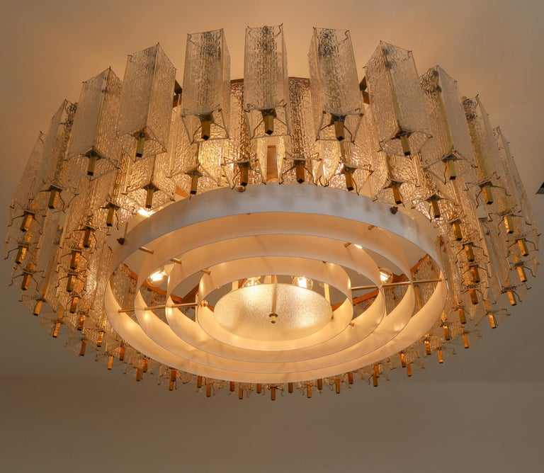 Three Extra Large Midcentury Chandeliers in Structured Glass and Brass, Europe For Sale 4