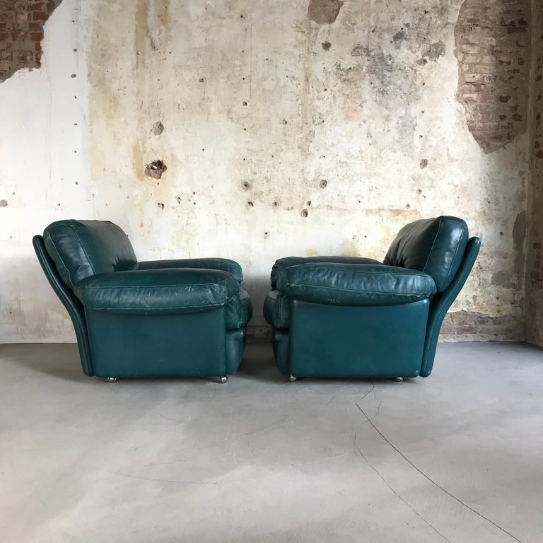 Mid-Century Modern Pair of Midcentury Lounge Chairs by Poltrona Frau, Italy, 1970s For Sale