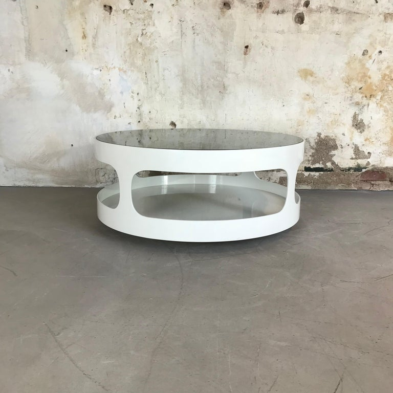 Mid-Century Modern Coffee Table with Smoked Glass by Erik Van Buijtenen for Nebu, Netherlands 1970s For Sale