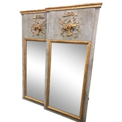Pair of Slim French Tremeau Mirrors with Bow and Garland