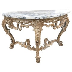1850 Italian Marble-Top Console with Distressed Paint
