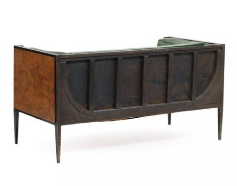 Danish cabinetmaker: Two-seat root wood and black lacquered wooden Art Deco sofa, upholstered with green velour. 1930s. L. 155 cm.  Condition : Wear due to age and use. Marks and scratches. Upholstery with stains