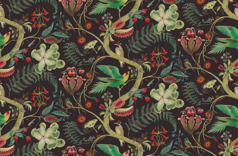 English Carolina Tree Of Life In Prunus Tropical Botanical Wallpaper For Sale