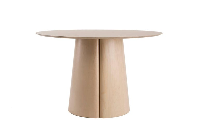 Modern Column Table Round by BlackTable Studio with Solid Ash Top and Ash Veneer Base For Sale