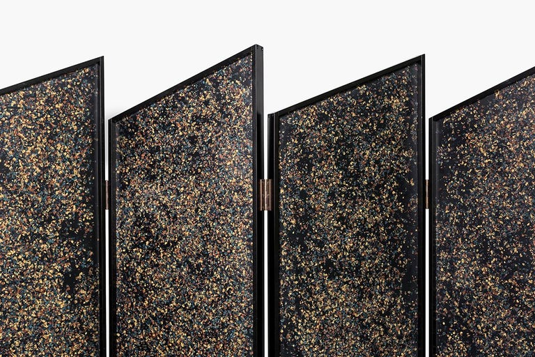 Modern Prairie Room Divider in Black Lacquered Aluminum and Cast Resin For Sale