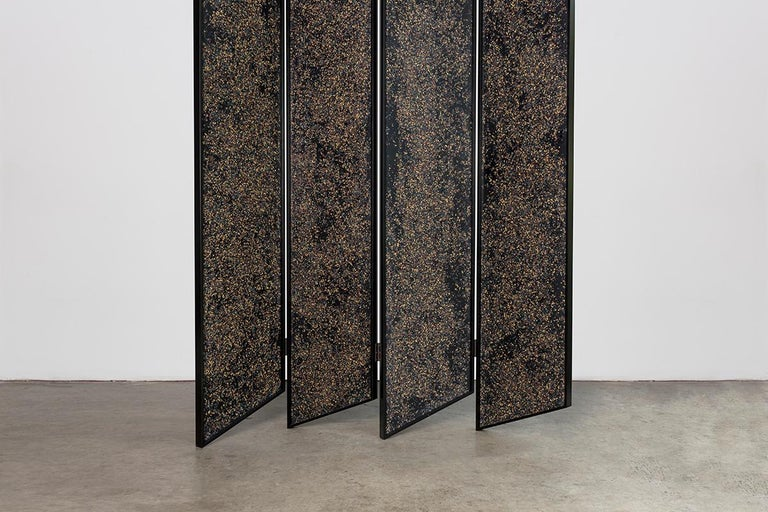 Prairie Room Divider in Black Lacquered Aluminum and Cast Resin In New Condition For Sale In New York, NY
