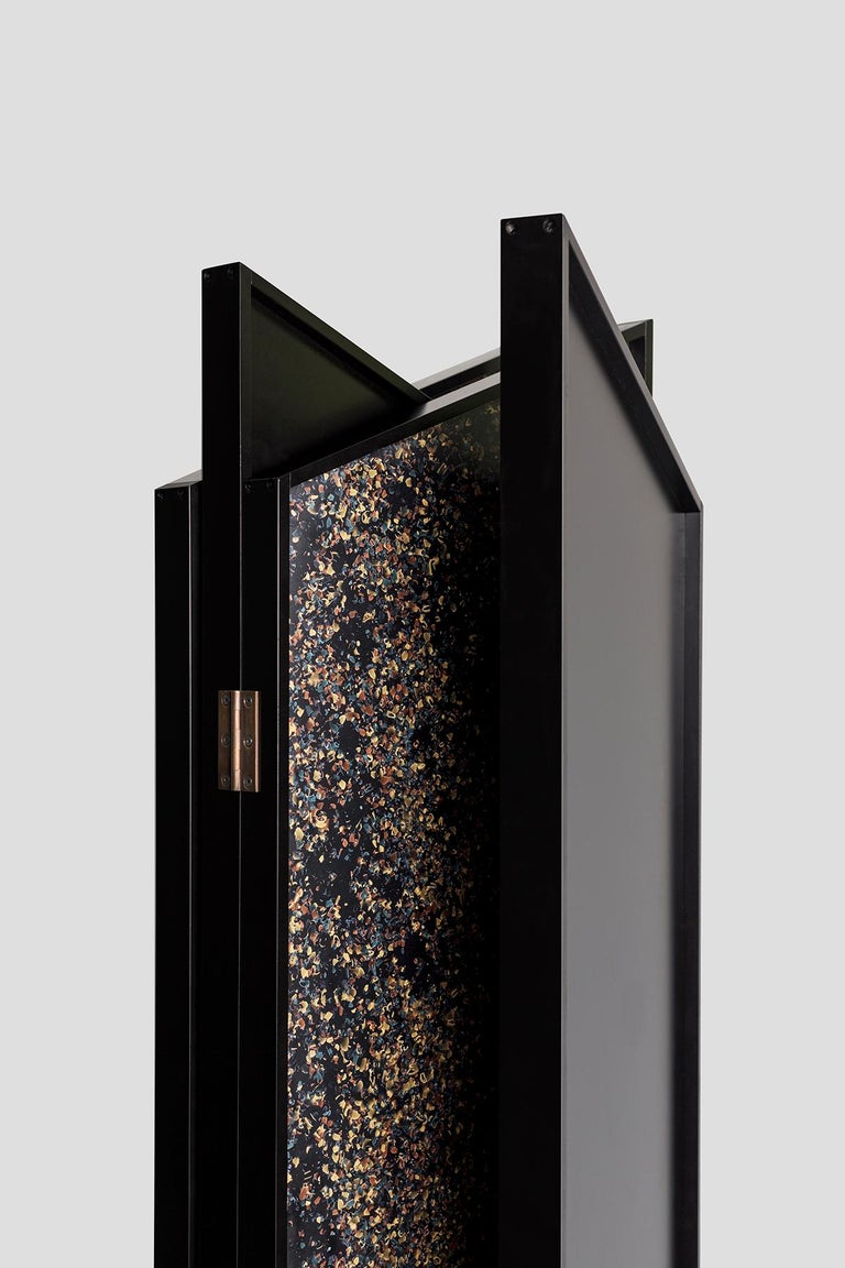 Prairie Room Divider in Black Lacquered Aluminum and Cast Resin For Sale 2