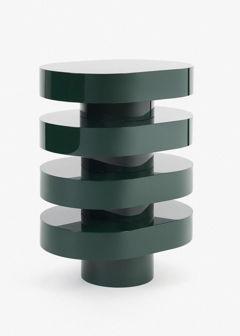 Named for the Greek Goddess of beauty, the Aglaé pedestal by up-and-coming French designer Joris Poggioli is constructed from three tiers of lacquered MDF wood.  Available in custom colors upon request.