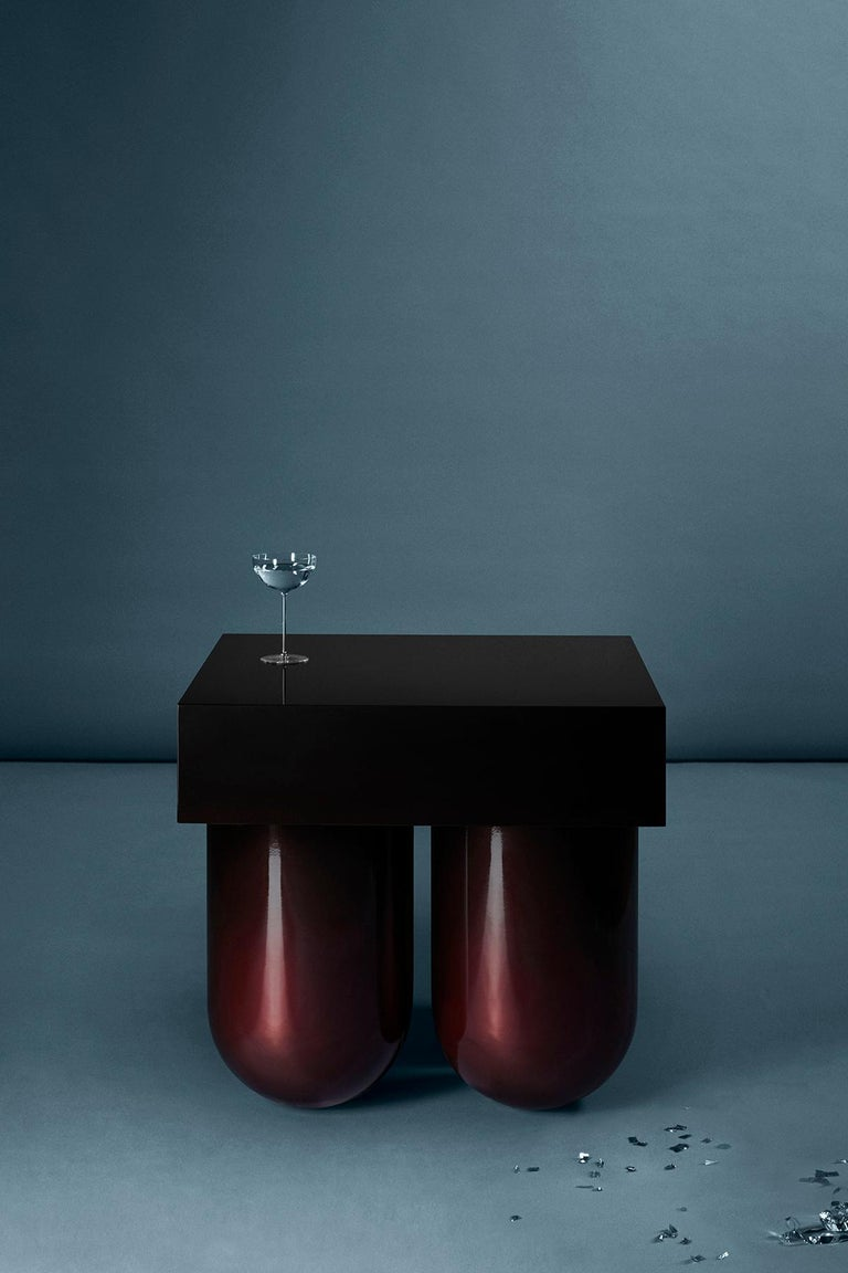 Lacquered Set No.5 Cocktail Table by Müsing–Sellés in Carved Wood Metallic Lacquer For Sale