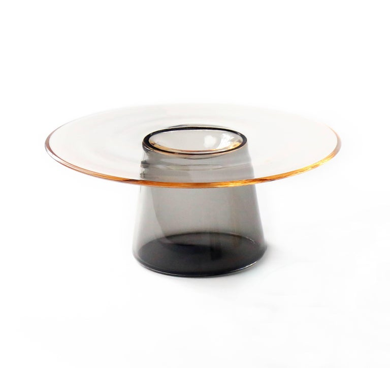 Nina Cho Tabletop Object in Champagne and Grey Handmade Glass