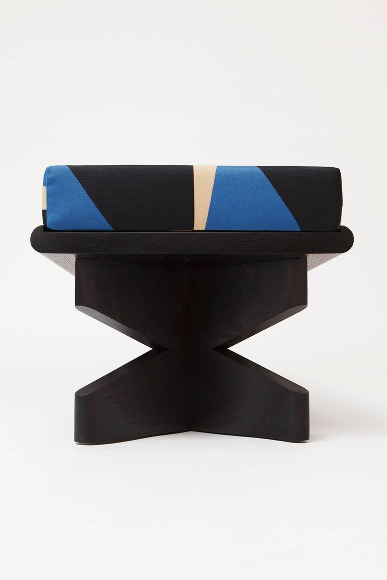Modern Depaysement Bench in Lacquered Ash and Woven Fabric by Weft, Black and Blue For Sale