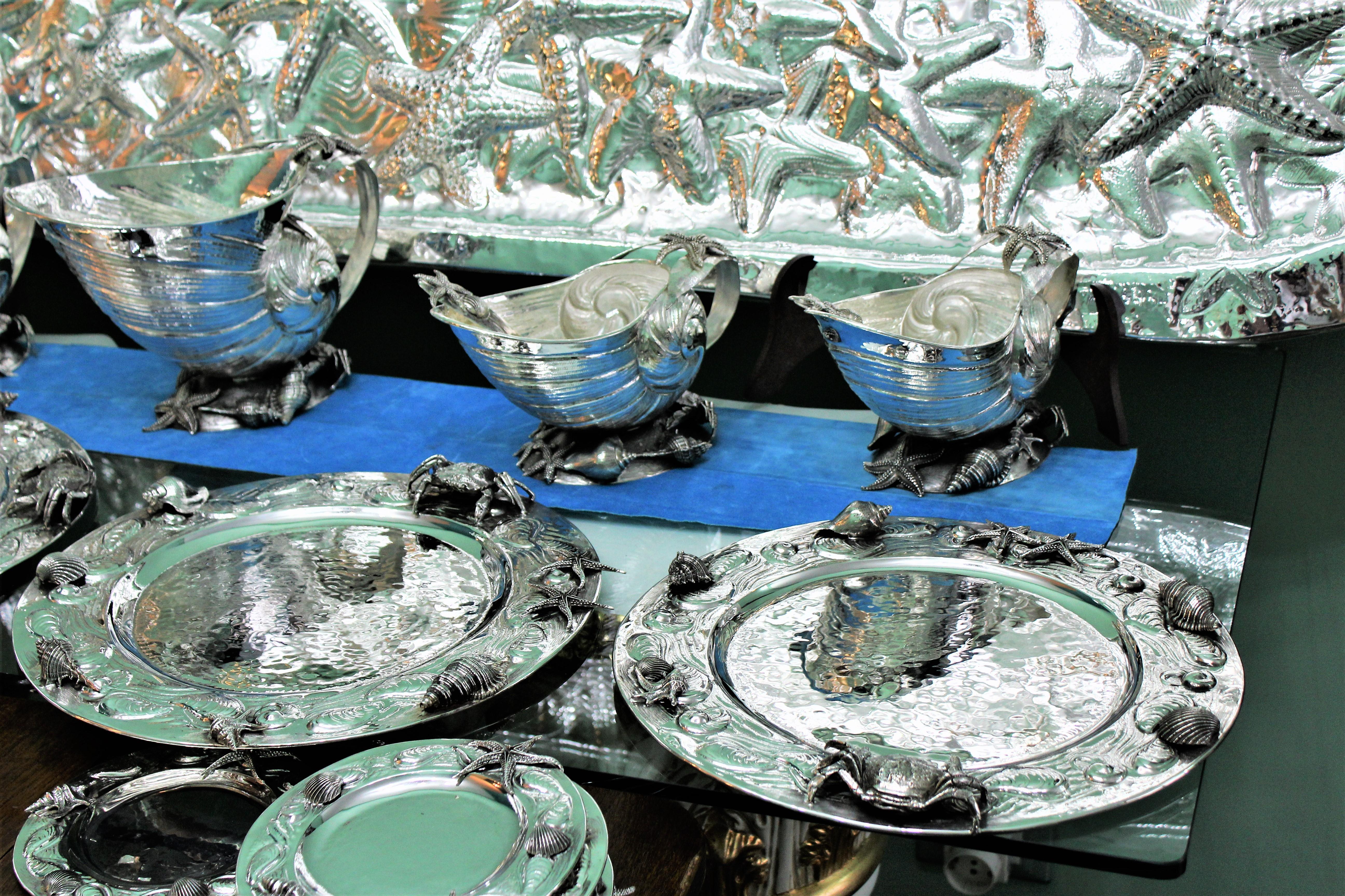 Giuseppe De Luca 20th Century Italian Silver Complete Dining Set ...
