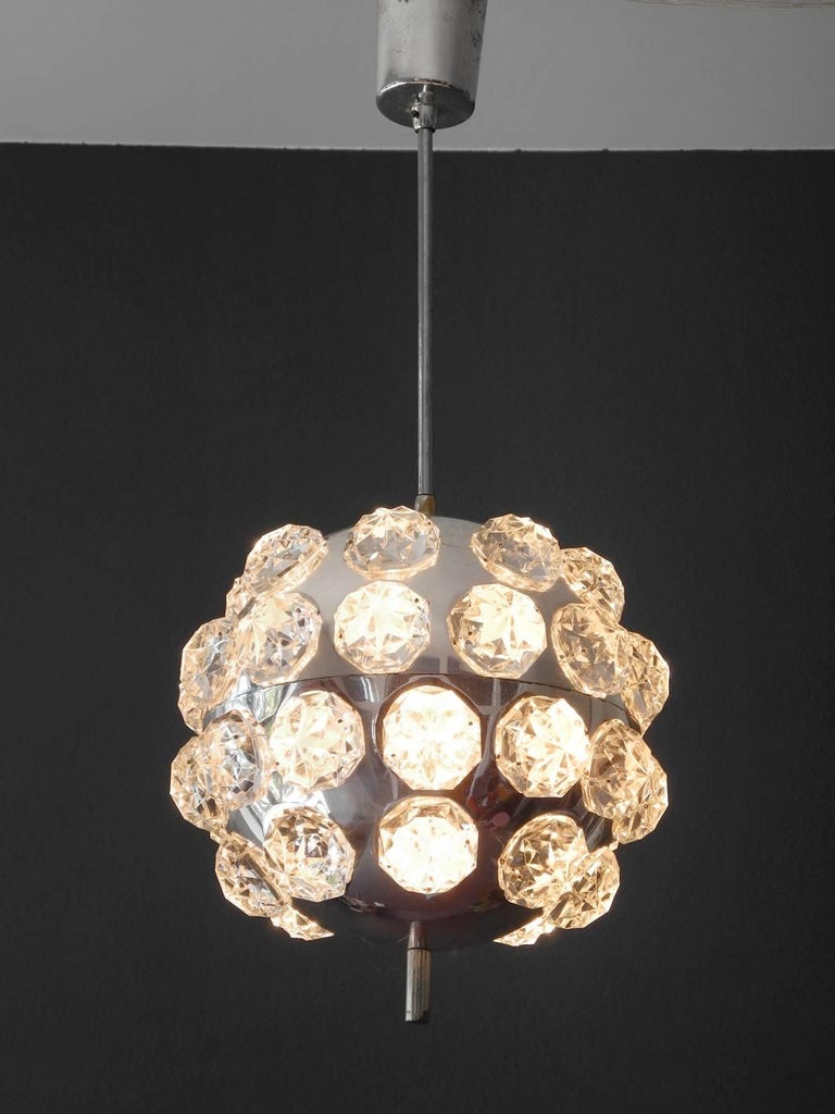 Mid Century Modern 1960s Ceiling Lamp Crystal Glass Stones On A Chrome Ball