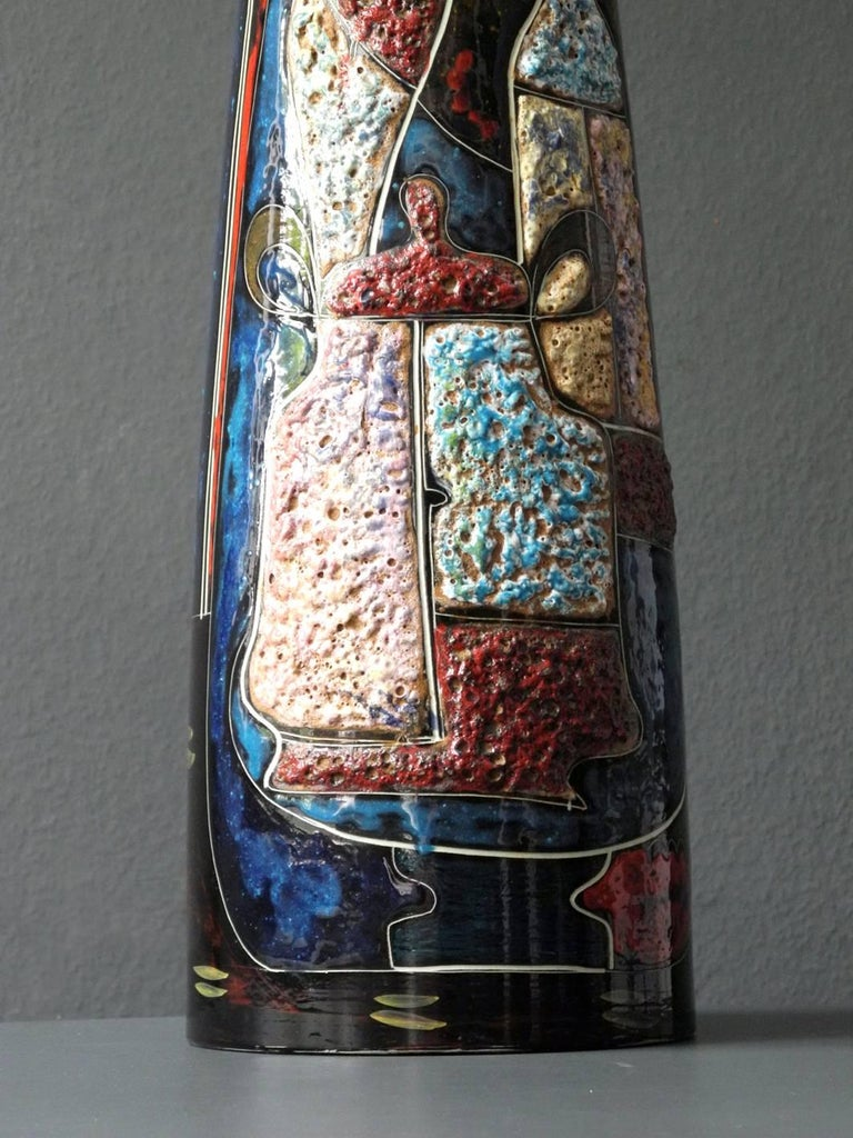Mid-20th Century 1960s Very Huge Handmade Colorful Ceramic Table or Floor Lamp by Melior For Sale