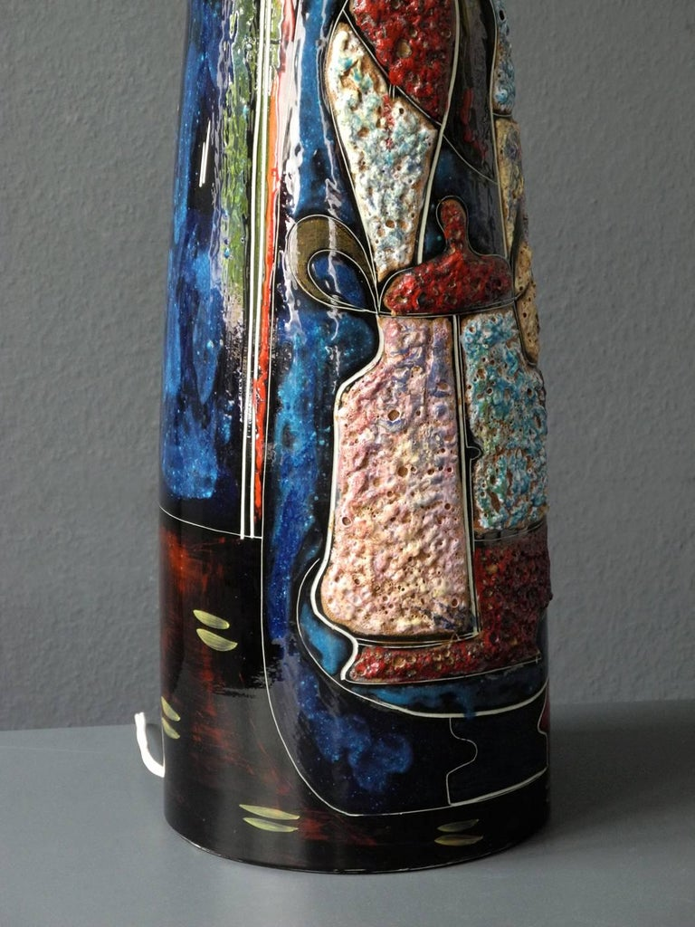 1960s Very Huge Handmade Colorful Ceramic Table or Floor Lamp by Melior For Sale 1