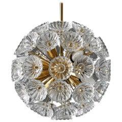 1960s Pop Art Space Age Sputnik Brass Glass Flower Dandelion Ceiling Lamp