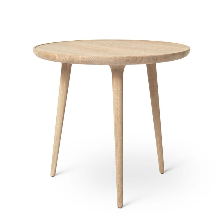 Modern Accent Table S FSC certified Oak Wood White Matte Lacquer by Mater Design For Sale