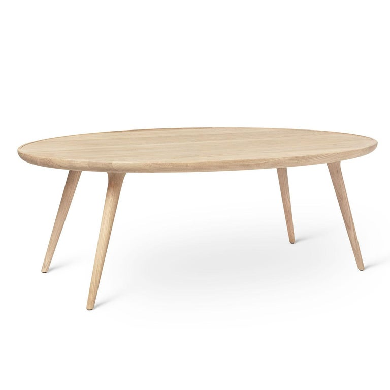 European Accent Table S FSC certified Oak Wood White Matte Lacquer by Mater Design For Sale