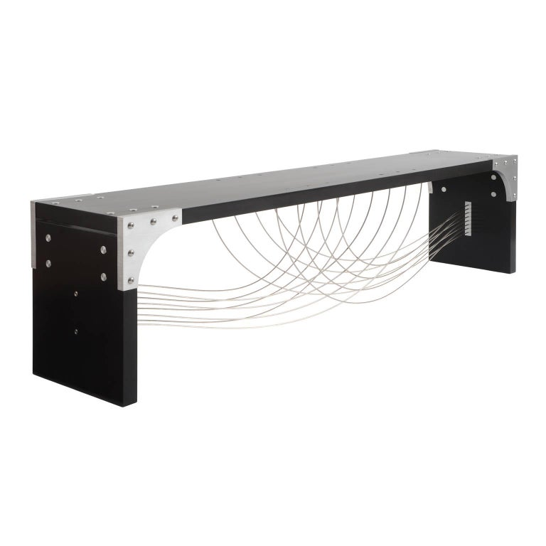 Venus, Handmade Modern Industrial Bench with Metal Cables and Black Wood