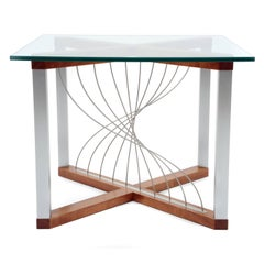 Mobius, Handmade Modern Industrial End/Side Table with Metal and Mahogany Wood