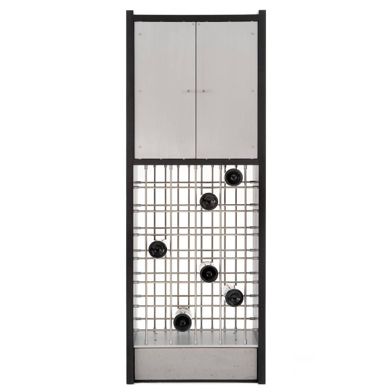 Infinity, Handmade Modern Wine Cabinet with Industrial Metal Concrete and Wood