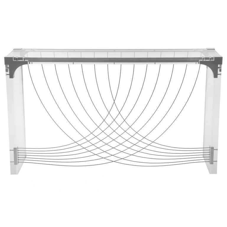 Acrylic Divergence, Modern Industrial Plexiglas Hall Table with Metal and Lucite