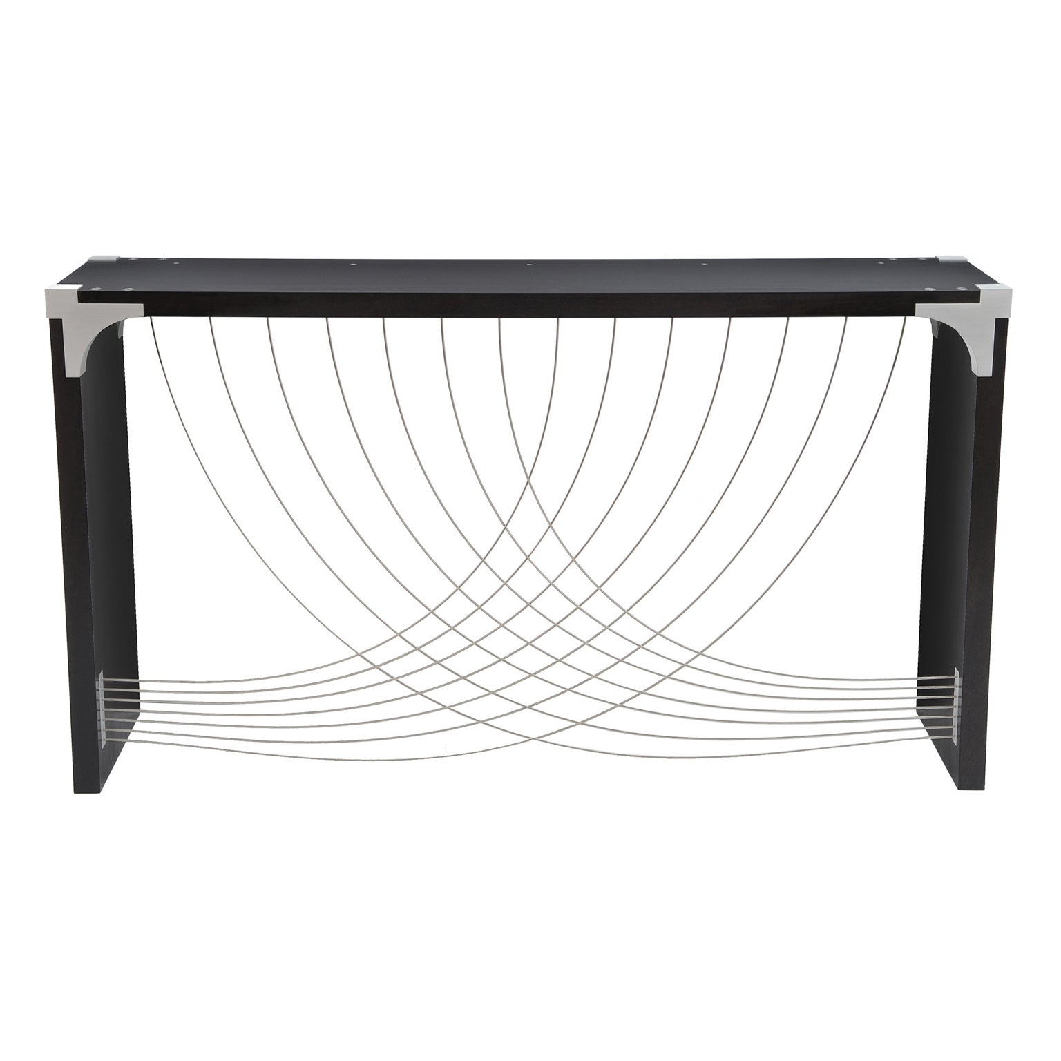 Modern Industrial Hall Table with Metal & Dyed Black Mahogany Wood