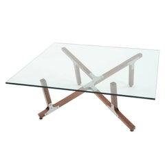 Hana, Airy Modern Industrial Coffee Table with Glass Top Metal and Walnut Wood