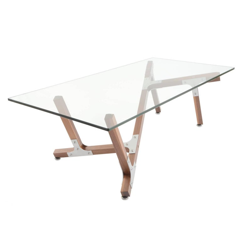 Maui, Airy Modern Industrial Coffee Table with Glass Top Metal and Walnut Wood
