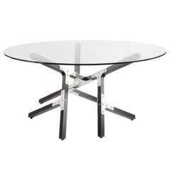 Oahu, Airy Modern Industrial Dining Table with Glass Top Metal and Black Wood