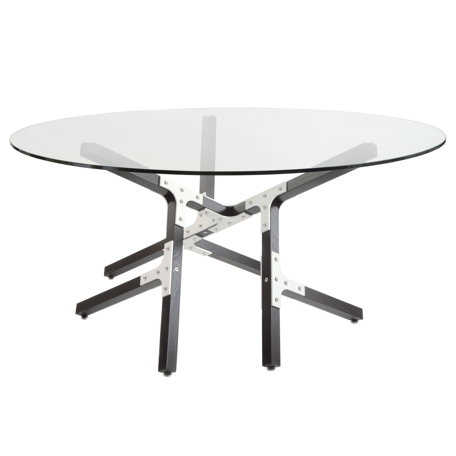 Modern Industrial Dining Table with Round Glass Top Metal and Black Wood