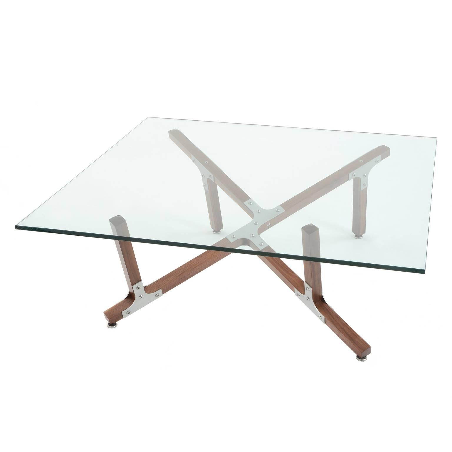 Hana Modern Industrial Coffee Table With Glass Top Metal And Walnut Wood  For Sale