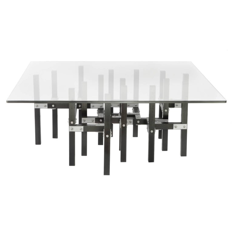 Metis 'In Stock' Modern Industrial Coffee Table Glass Top Metal and Black Wood