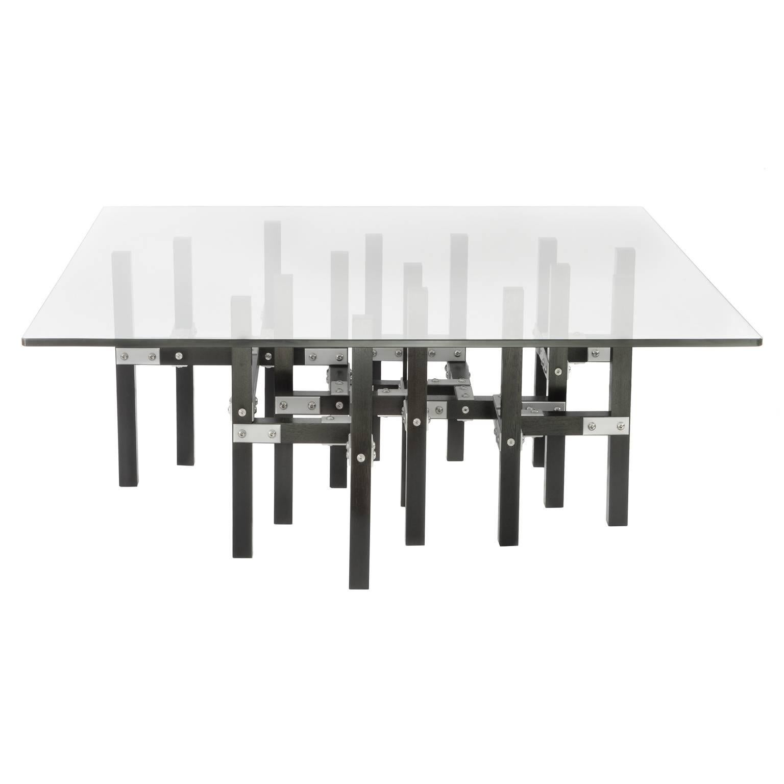 Metis U0027In Stocku0027 Modern Industrial Coffee Table Glass Top Metal And Black  Wood For