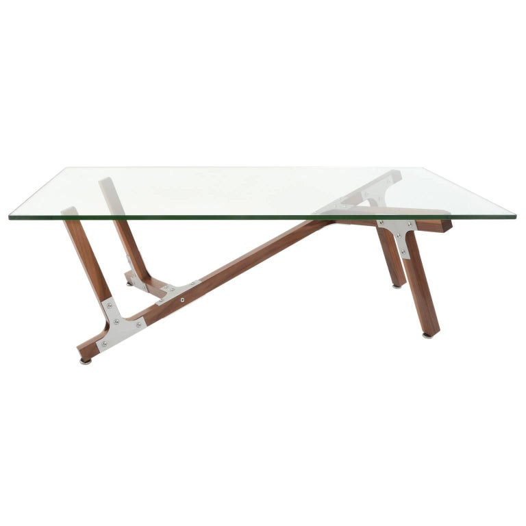 American Industrial Modern Coffee Table Glass Metal and Walnut Wood For Sale