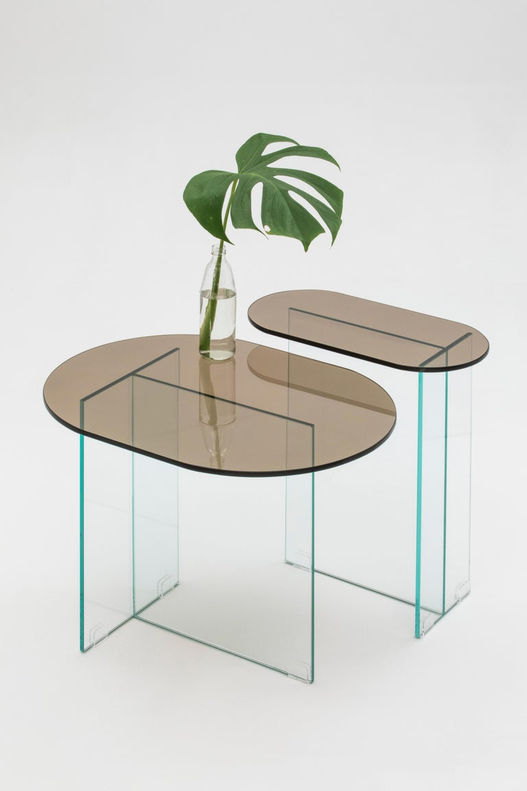 Minimalist Vetro Dark Bronze Side Table For Sale