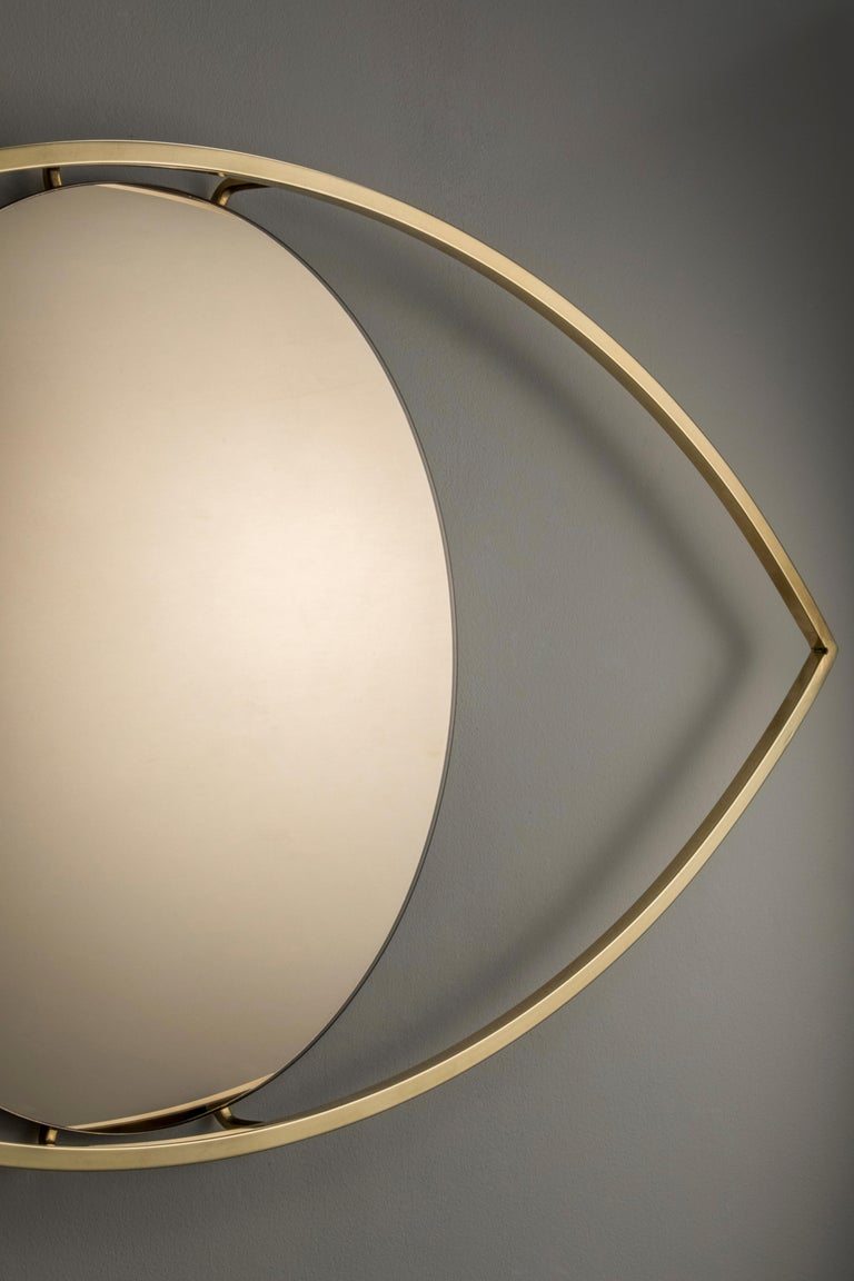 The Mirror Soul reflects the user in a positive, playful and mystical way. The piece can be used in multiple environments such as entrance hall, living rooms, dining room, lounges, bedroom, toilets. Its a handcrafted piece, made with polished brass
