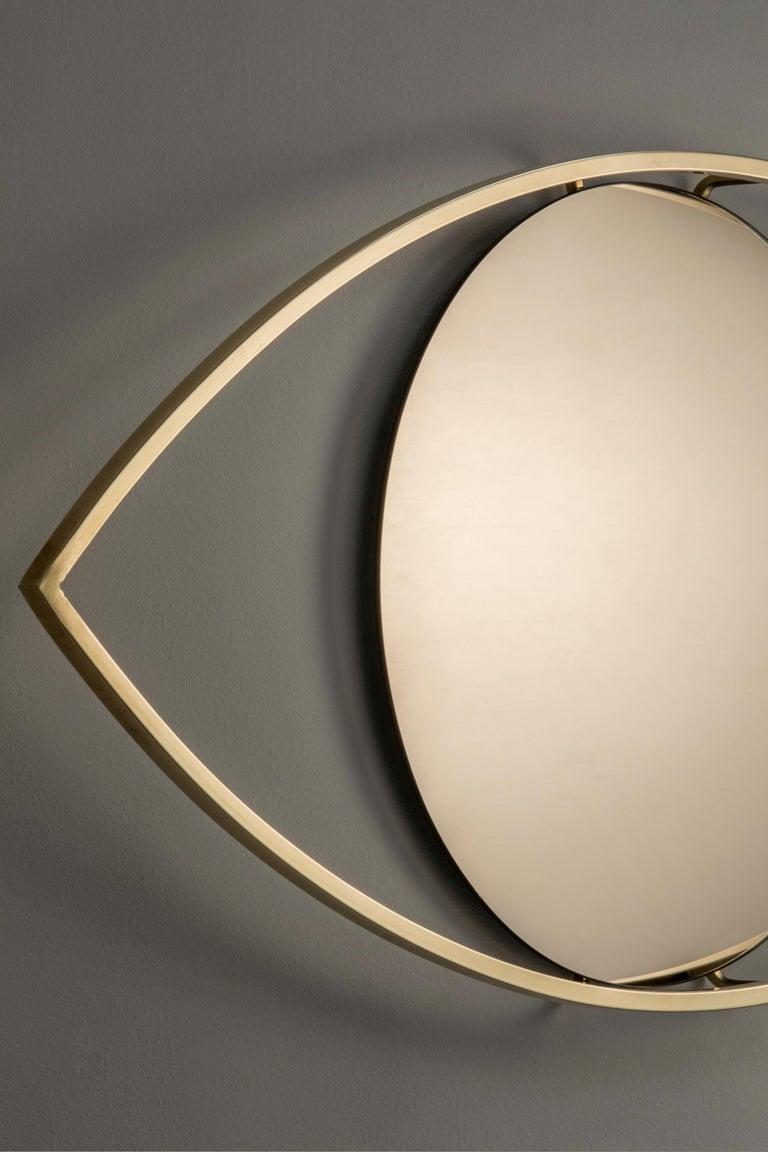 Minimalist Alma Brass Bronzed Mirror For Sale