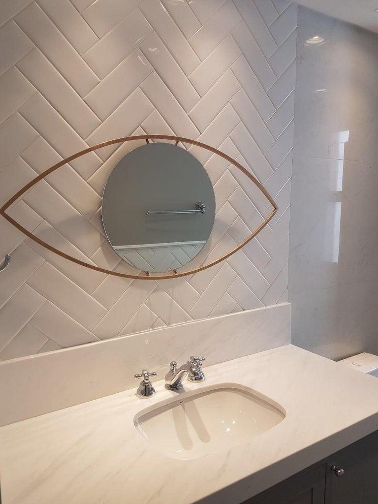 Polished Alma Brass Bronzed Mirror For Sale