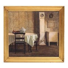 Danish Interior Painting, Signed in Monogram, 1923
